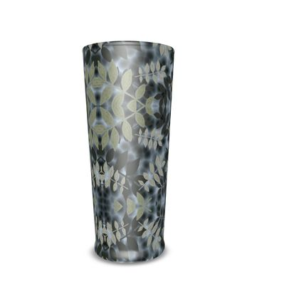 Pint And Half Pint Glass Black, Grey  Etched Leaves  Volcanic