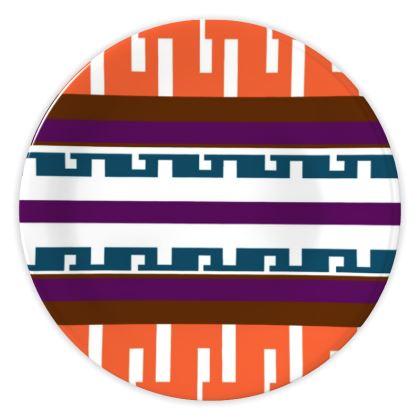 Bold orange Mid Century Modern China Plates
