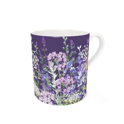 Bone China Mug - Dusky Floral Symphony