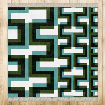 Geometrical Green Rug