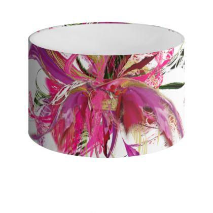 Drum Lamp Shade - Lampskärm - Pink Flow White