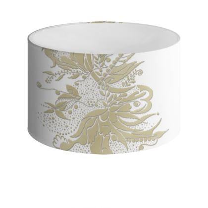 Drum Lamp Shade - Lampskärm - Gold Ink flower White