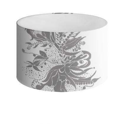 Drum Lamp Shade - Lampskärm - Grey Ink Flower White