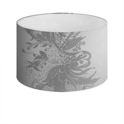 Drum Lamp Shade - Lampskärm - Grey Ink Flower Grey