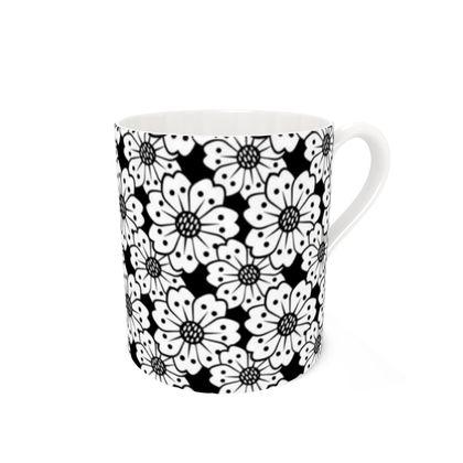 Cherry Blossoms Black and White Pattern Coffee Mug