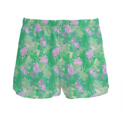 Ladies Silk Pyjama Shorts Green, Mauve  Fuchsias  Apple