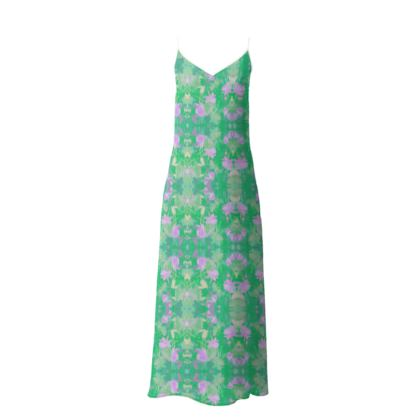Slip Dress Green, Mauve Floral  Fuchsias  Apple