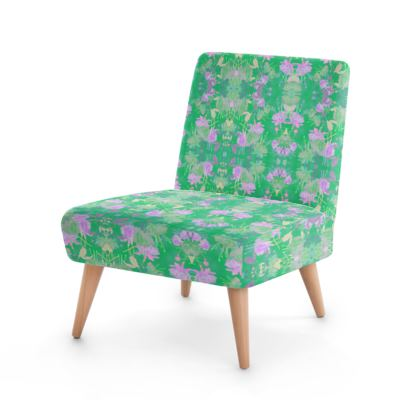 Occasional Chair Green, Mauve, Floral  Fuchsias  Apple