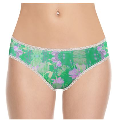 Knickers Green, Mauve, Floral  Fuchsias  Apple