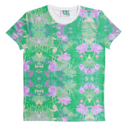 Cut And Sew All Over Print T Shirt  Green, Mauve, Floral  Fuchsias  Apple