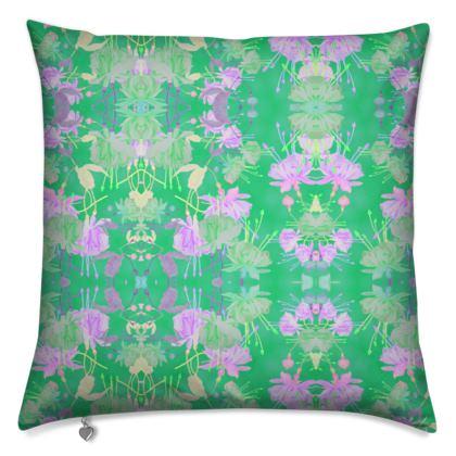 Cushions Green, Mauve Floral Abstract  Fuchsias  Apple