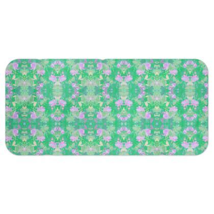 Blanket Scarf Green Mauve Floral [regular size shown] Fuchsias  Apple