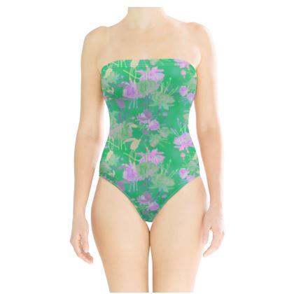 Swimsuit Green, Mauve Floral  Fuchsias  Apple