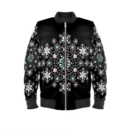 Lacy Snowflakes Ladies Bomber Jacket