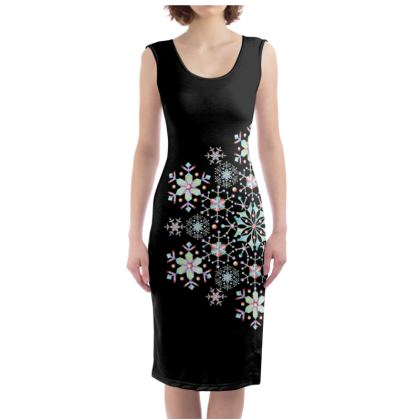 Prismatic Snowflake Bodycon Dress