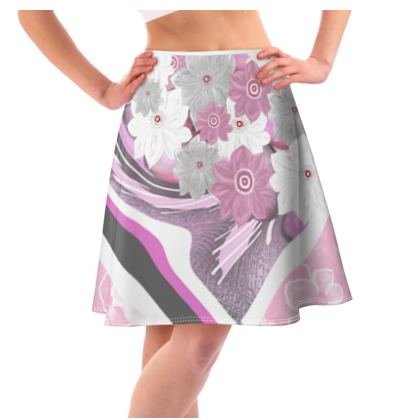 Flared Skirt collage of abstract florals
