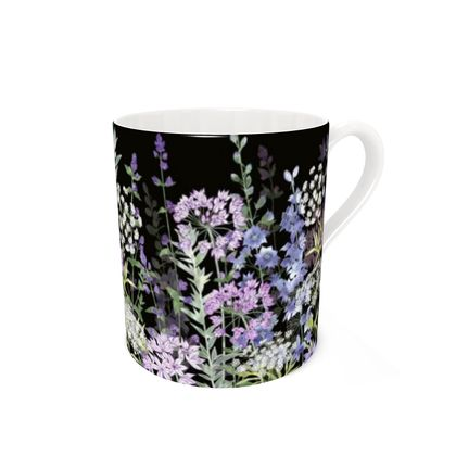 Bone China Mug - Midnight Floral Symphony