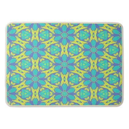Bath Mat Blue, Yellow  Geometric Florals  Hidden Gems