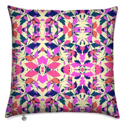 Cushions Pink, Orange  Diamond Leaves  Sunset