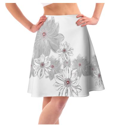 Flared skirt grey and white floral