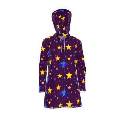 Galaxy of Stars Multi on Purple Womens Hooded Rain Coat / Waterproof Jacket