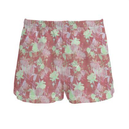 Ladies Silk Pyjama Shorts Cinnamon  Fuchsias  Sassy Cinnamon
