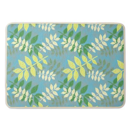 Bath Mat Turquoise, Green  Etched Leaves  Green Glade
