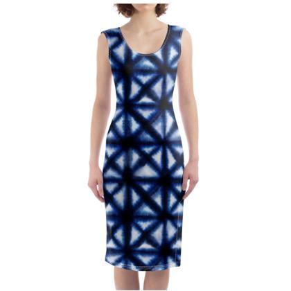 Shibori Geometric Bodycon Dress