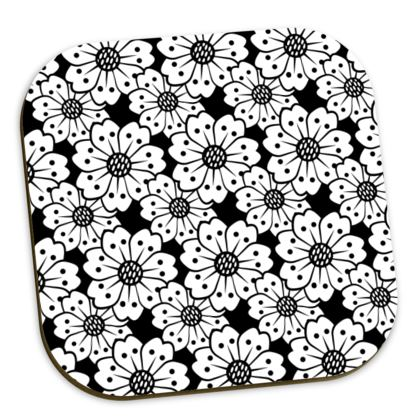 Cherry Blossoms Black and White Pattern Coaster