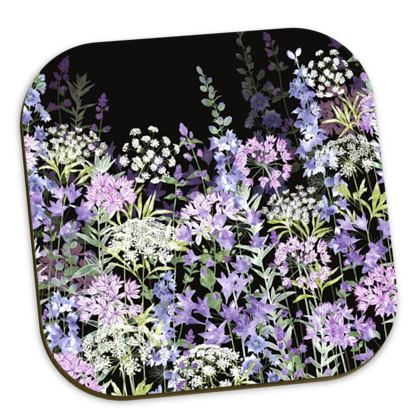 Midnight Floral Symphony Coasters