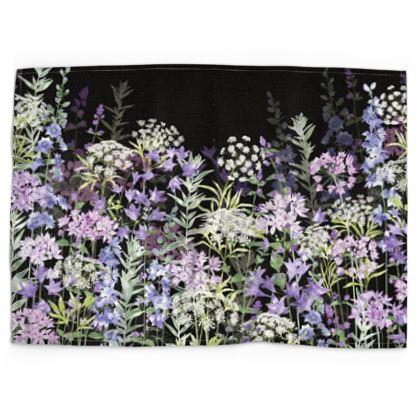 Midnight Floral Symphony Tea Towel