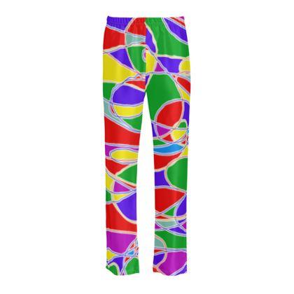 Ladies Silk Pyjama Bottoms - Bright & Colourful
