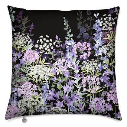 Midnight Floral Symphony Cushion