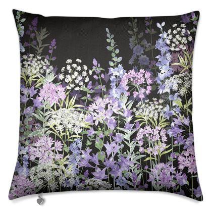 Midnight Floral Symphony Luxury Cushion