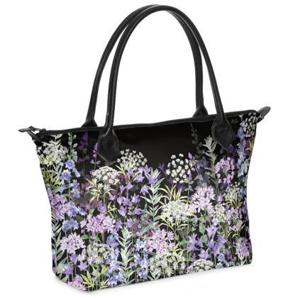 Midnight Floral Symphony Zip Top Handbag