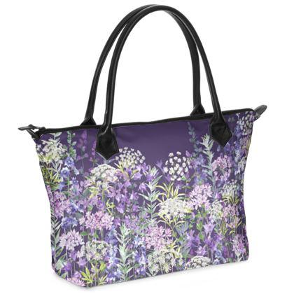 Dusky Floral Symphony Zip Top Handbag