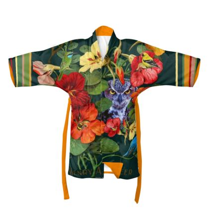 A Purple Owl in the Nasturtiums Kimono