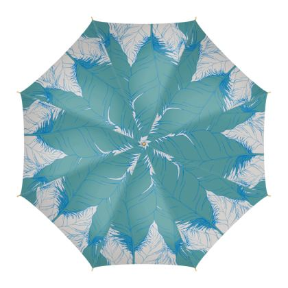 Feather (White & Teal) - Umbrella