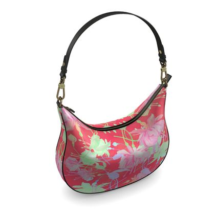 Curve Hobo Bag Red, Floral   Fuchsias   Hot Pepper