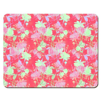 Placemats Red, Floral  Fuchsias  Hot Pepper