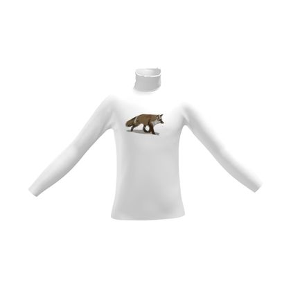 Mens Slim Fit Roll Neck - Lonely Fox In The Snow