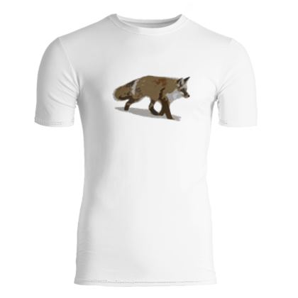 Slim Fit Mens T-Shirt - Lonely Fox In The Snow
