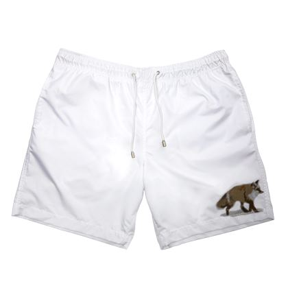 Mens Swimming Shorts - Lonely Fox In The Snow