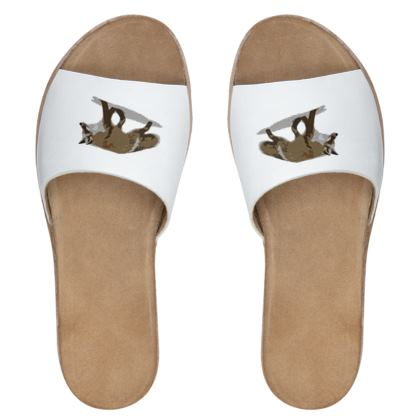 Womens Leather Sliders - Lonely Fox In The Snow