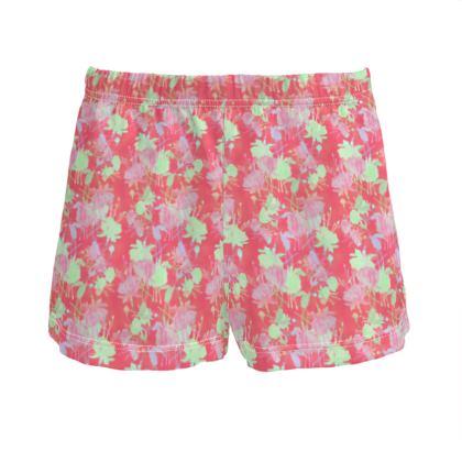 Ladies Silk Pyjama Shorts Red, Floral  Fuchsias  Hot Pepper