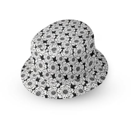 Cherry Blossoms Black and White Pattern Bucket Hat