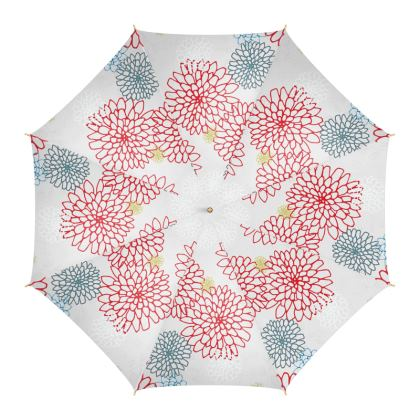 Chrysanthemum (White with Red) - Umbrella