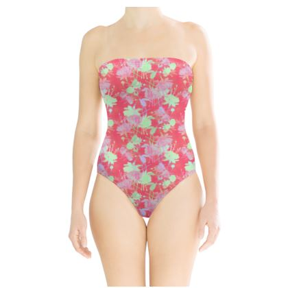 Swimsuit Red, Floral  Fuchsias  Hot Pepper