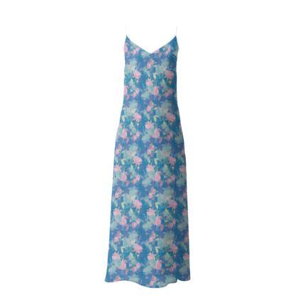 Slip Dress Blue Floral  Fuchsias  Airforce