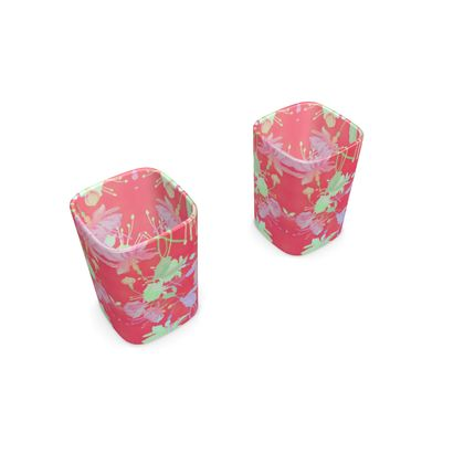 Square Shot Glass 2 Set Red, Floral  Fuchsias  Hot Pepper